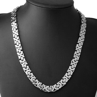 6/8/11mm Fashion 316L Stainless Steel Women Men's Chain Flat Byzantine Necklace