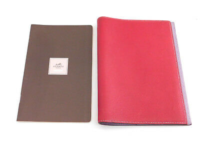 "Authentic Hermes Red Leather 7.6"" x  5.5"" Agenda Note Book Cover + Address Book"