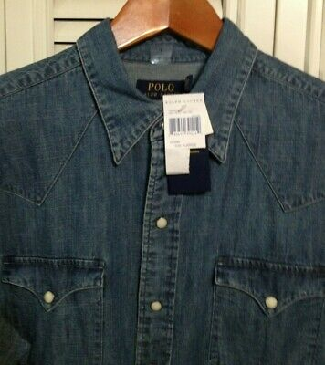 NEW Polo Ralph Lauren Western Style Shirt! M Weathered Denim Faux Pearl Snaps