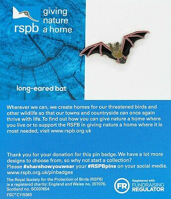 RSPB Pin Badge | long-eared bat GNAH BLUE (01583)