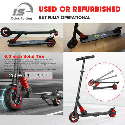 Folding Electric Scooter 250W 14Mph Red Portable City Kick E-Scooter Safe Used