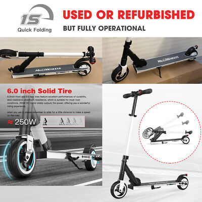 Folding Electric Scooter 250W 14Mph White Portable City Kick E-Scooter Safe Used