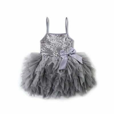 Cute Girls Princess Dress Kids Baby Party Sequins Pageant Lace Dresses Clothes