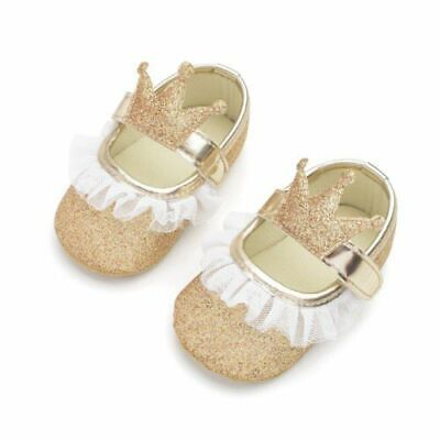 Crown Princess Baby Cute Shoes First Walker Toddler Cotton Sequin Lace Infant