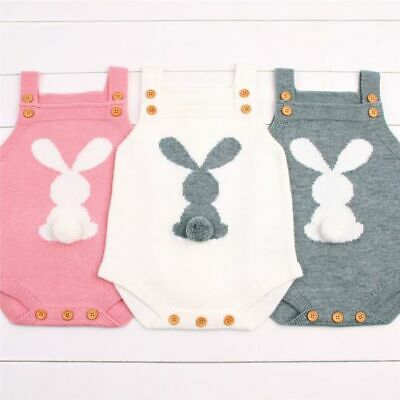 Cute Bunny Kids Baby Girl Boy Knit Cotton Romper Suit Children Wear