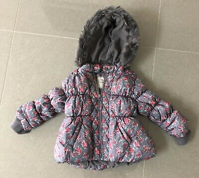 Girls Zip Up Coat Next 12-18months 86cms Polyester Faux Fur Trim Hoodied