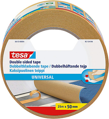 tesa UK Strong Double Sided Adhesive Tape for Fixing Carpets, 25 m x 50 mm