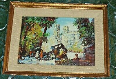 Vintage Miniature Oil Painting (Abstract) - European Setting Outside Of Church