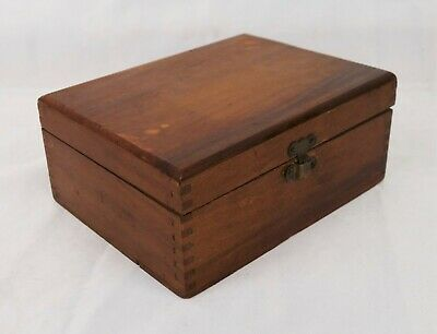 Small Antique Wood Lap Joint Desktop Trinket Box Brass Latch and Hinges