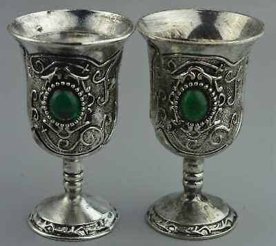 Cllectable Handwork Miao Silver Carve Flower Inlay Agate Wealthy Royal Wine Cup