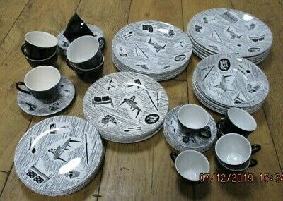 RIDGWAY  HOMEMAKER BY ENID SEENEY.  54 piece set  BLACK & WHITE 1950 s