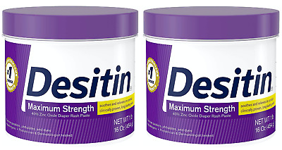 Desitin Diaper Rash Maximum Strength Original Paste Zinc Oxide 16 Ounce 2-PACK