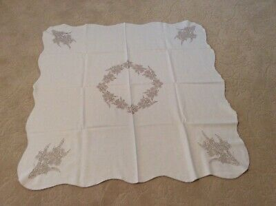 Vintage Hand Embroidered Linen Tablecloth, Beautiful