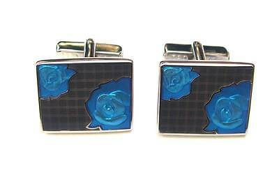TED BAKER BRIGHT BLUE BOROUGH ENAMEL TELEPHONE SILVER PLATED CUFFLINKS NEW £65!