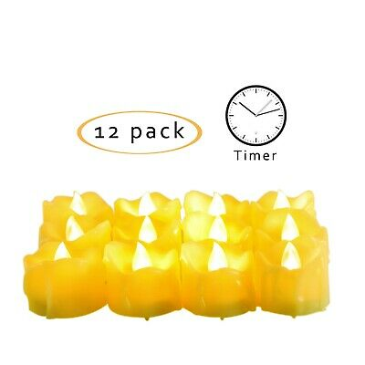 12PCS Flameless LED Votive Candles Battery Operated Tealights with Timer Drips