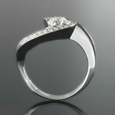 2.31 Carats Twisted Diamond Ring Promise 18K White Gold Size 5.5 6.5 7 9 Women
