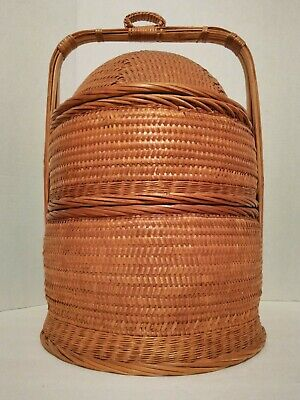 Wedding Basket Oriental Chinese Asian Woven Wicker 3 Piece Rattan Bamboo 21 tall