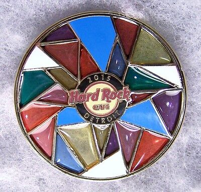 Hard Rock Cafe Detroit Multi Colored Stained Glass Wheel Pin # 86457