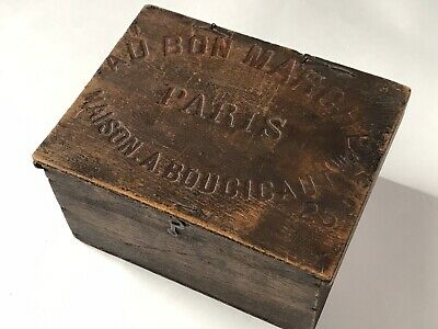 "Antique French Advertising Le ""AU BON MARCHE"" PARIS Dresser Vanity Wood France"