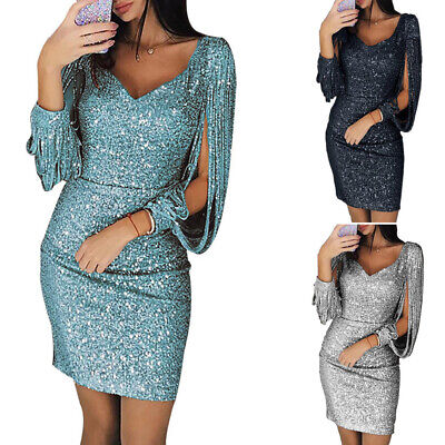 Womens Sexy Sequins Glitter Short Mini Dress Long Sleeve Bodycon Party Dresses