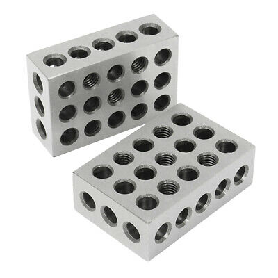 "1 Pair of Precision 1-2-3 Blocks 0.0002"" 23 Holes Machinist, Steel, Easy to Use"