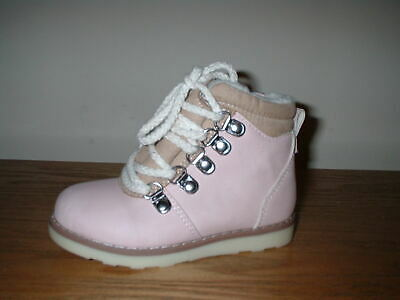 Girls Pink Zip Fasten Laces Warm Fleece Lining Chukka Boots Size 5/22 Infant