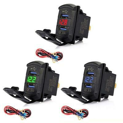 Dual USB Rocker Switch QC3.0 Fast Charger LED Voltmeter For Boats Car Smartphone