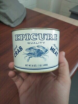 Antique Vintage Epicure Crab Meat Tin Can Cambridge Md no lid. NICE ADVERTISING