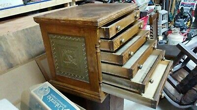 Antique 6 Drawer Spool Cabinet-Oak Eastlake-unusual sides