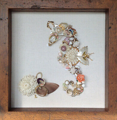 Framed Vintage Jewelry Art Shell Seahorse 10x10 Abalone cloisonne milk glass