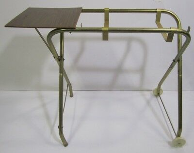 Vtg Mid Century Portable Sewing Machine Table Cart Desk Metal Wood Rolling