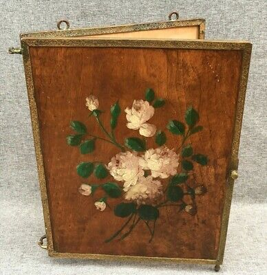 Antique french 19th century folding mirror wood painted by hand bronze signed