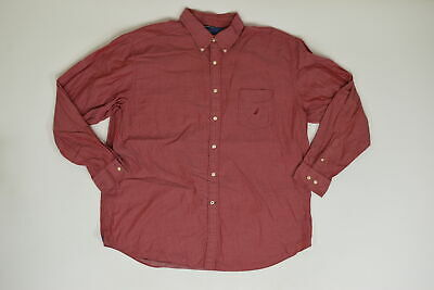 Men's Nautica Button Down/ Button Up Regular XXL Red Solid Long Sleeve Baumwolle