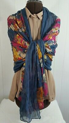 Unbranded Long Floral Rectangle Color Full  Multi-Color Scarf Polyester EUC C4