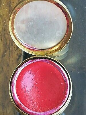 Vintage early 1900's Gold tone Du Barry, Richard Hudnut, round rouge Compact