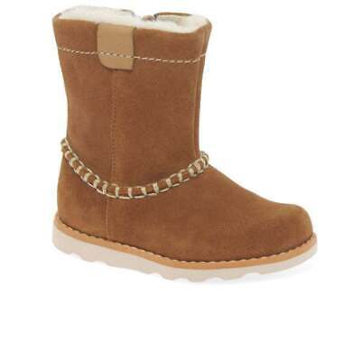 Clarks Crown Piper Girls First Faux Fur Lined Suede Ankle Boots