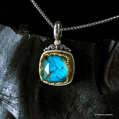 Gerochristo 925 Silver Byzantine Handmade Pendant with Turquoise and Quartz
