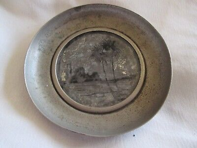 Rare Vintage Unusual Pewter Pin Dish with Tropical Island Scene