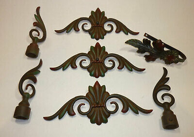 Vintage lot of JUDD cast iron curtain hanging parts, decorative rod ends, hanger