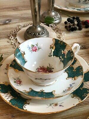 Antique bone china Tea cup Trio Plate, Saucer HAND PAINTED ROSE FLORAL GOLD