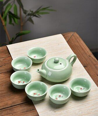 Tea Set Chinese Longquan Celado Tea Pot with 6 Tea Cups Kung Fu Tea Infusers