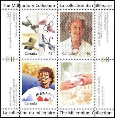 Canada Stamps - The Millennium Collection S/S of 4 - Hearts of Gold #1824 - MNH