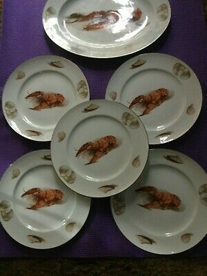 Antique Jwk Bavaria Western Germany Oval Lobster Serving Platter & 6 Dinner Plat