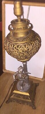 Bradley & Hubbard Antique Cherub Brass & Bronze Ornate Lamp Free Shipping c.1900