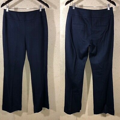 CAbi 9 to 5 Trouser Side Zip Boot Cut Pants Navy Blue Style 5312 Women's Size 8