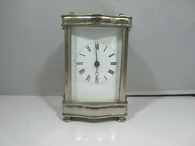 "Antique Chromed Brass Carriage Clock "" As Is "" Not Overwound No Handle"