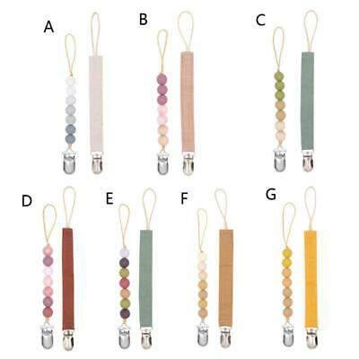 2 Pack Dummy Clips Baby Pacifier Chain Silicone Teething Relief Toys Soothie