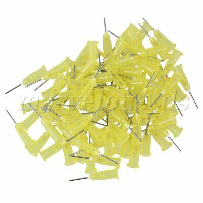 """100 Piece Dispensing Blunt Needle Tip 1/2"""" Yellow 20Ga For Industrial Use"""