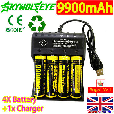 4X 9900mAh 18650 Battery 3.7V Li-ion Rechargeable Batteries with USB Charger UK