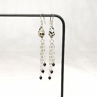 Beige Speckle Stone Dangly Earrings